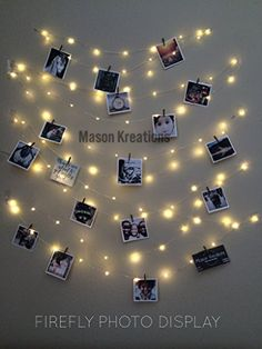 Mason FireFly Lights, Silver Wire - Craft clips & Batteries included! (hangit picture frame vintage, photo string, picture frame collage, picture frame charm, fairy lights, wedding lights)