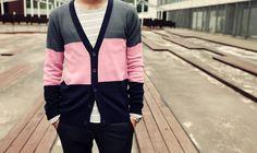 Color block cardigan.