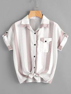 Casual Pocket and Button Striped Shirt Regular Fit Collar Short Sleeve Pink Contrast Striped Roll Tab Sleeve Knotted Hem Shirt Look Fashion, Fashion Clothes, Fashion Outfits, Fashion Ideas, Fashion Black, Fashion Styles, Fashion Women, Classy Fashion, Petite Fashion