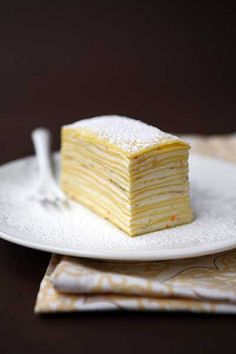 crepes cake ssl Let Them Eat Pancakes! wedding cake inspiration cake wedding inspiration wedding cake wedding inspiration inspiration (powdered sugar on top is cute. Also could you make an ombre blue crepe cake by adding more and more coloring to the creme?)