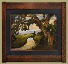 Oak On The Creek by Jan Schmuckal Oil ~ 24 (painting size) x 30 (painting size) Craftsman Interior, Artist And Craftsman, Craftsman Style, Craftsman Artwork, Craftsman Wallpaper, Craftsman Houses, Arts And Crafts House, Impressionist Artists, Art And Craft Design