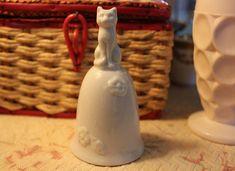 Vintage Ceramic Bell Cat Bell White Ceramic Bell White