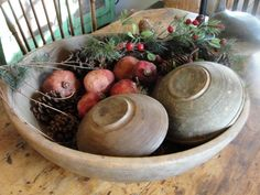 I love using vintage wooden bowls & fixins around my house for the holidays!
