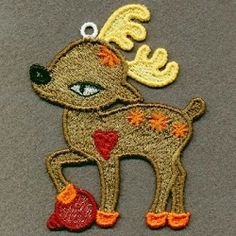 FSL Reindeer 9 - 4x4 | FSL - Freestanding Lace | Machine Embroidery Designs | SWAKembroidery.com Ace Points Embroidery
