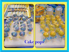 Cake pops...  My daughter and I made this personally.. We made blue and yellow.