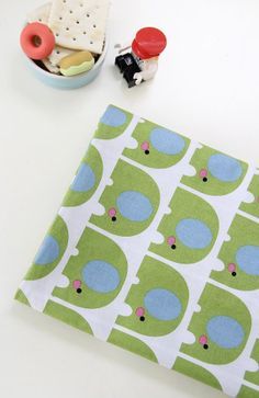 Lovely Elephant Cotton Fabric  Green  By the Yard by landofoh, $11.85