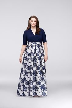 6866231287ccf Floral Navy Surplice Plus Size Ball Gown Mother of the Bride dress or Mother  of the