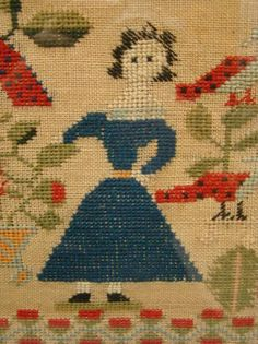 "Detail of 19th c. sampler (undated) ""Lucenia Bradley Aged 11."