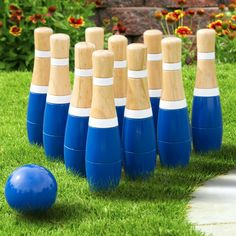"""Amazon.com: Hey! Play! Wooden Lawn Bowling Set, 8"""": Toys & Games"""