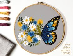 Most recent Photographs Cross Stitch butterfly Suggestions Floral Modern Cross Stitch Pattern, flower butterfly counted cross stitch chart, nature, hoop embro Hand Embroidery Patterns, Embroidery Art, Cross Stitch Embroidery, Embroidery Designs, Butterfly Embroidery, Simple Embroidery, Machine Embroidery, Cat Cross Stitches, Stitching Patterns