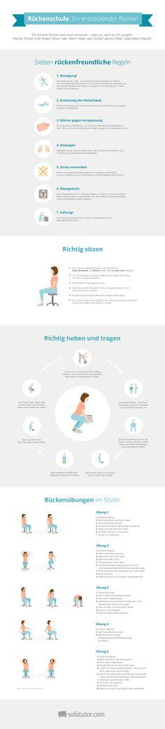 Rückenschmerzen sind lästig, können aber vermieden werden. In unserer Infografik finden Sie neben leichten Rückenübungen Anleitungen für richtiges Sitzen und Heben. Außerdem erfahren Sie, was Sie sonst noch gegen Rückenschmerzen tun können. (magazin.sofatutor.com/eltern)