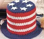 Stars & Stripes Toilet Tissue Cover free crochet pattern