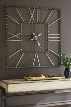 Wall Clock Decor Living Room 209769295130387568 - Thames Black/Gold Finish Wall Clock Source by Huge Clock, Big Wall Clocks, Cool Clocks, Large Decorative Wall Clocks, Unique Wall Clocks, Diy Clock, Clock Decor, Diy Wall Decor, Gold Wall Decor