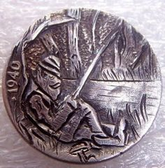 Hobo nickel by Mike B, fishing for supper Mike B, Hobo Nickel, Fishing, Personalized Items, Peaches, Pisces, Gone Fishing