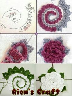 crochet Flower FREE Pattern and Video Tutorial Diy Crochet Flowers, Knitted Flowers, Crochet Crafts, Crochet Projects, Crochet Diagram, Crochet Motif, Crochet Stitches, Crochet Patterns, Knitted Flower Pattern