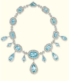 A FINE BELLE EPOQUE AQUAMARINE AND DIAMOND NECKLACE, BY KOCH   Designed as a series of graduated oval and rectangular-shaped aquamarines within rose-cut diamond Greek key surround suspending pear-shaped aquamarine drops in rose-cut diamond borders to the flowerhead spacers with detachable kite-shaped aquamarine drops, mounted in platinum and gold, circa 1905