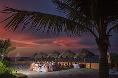 A friendly wedding dinner at the beach in Mayan Riviera Mexico, with the best sunsets. Wedding Photography by Sarani E.