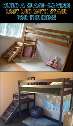 Maximize space in your child's room by building a loft bed with stairs. Your kids will love it! Learn more about this project here...