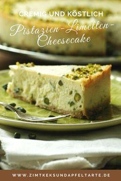 Cremig, fruchtiger Cheesecake mit Limetten und Pistazien - ganz einfaches Rezept für diesen wundervollen Kuchen auf dem Blog - schnell gemacht und absolut besonders - toll für die Kaffeestunde oder auch zu Ostern