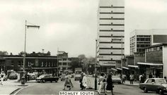 Photograph was taken at the bottom of Bromley High Street (based on cars - 1966-70) On the left is the entrance to Bromley South Station. The ground floor of the tower block had that revolution in home design Habitat (the IKEA of its day) - and opposite it across the pedestrian square the Safeway supermarket where Gill and I did our weekly shop on a Friday night after work (1967-77)