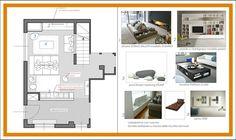 ARREDAMENTO E DINTORNI: arredo soggiorno (progetto per contest) Floor Plan Sketch, Interior Design Presentation, Concept Board, Designs To Draw, Mood Boards, North Creek, Floor Plans, Design Boards, Layout