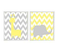 Nursery Art - Yellow Gray Elephant Giraffe - Safari Zoo Animals Decor - Modern Baby Playroom- Wall Art