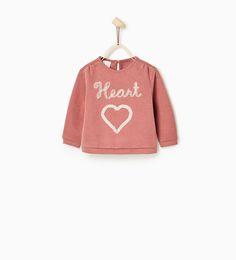 Sweatshirt med hjärta i tyll med glitter-SWEATSHIRTS-BABY FLICKA   3 månader - 4 år-BARN   ZARA Sverige