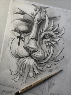 3d Tattoos, Flower Tattoos, Sleeve Tattoos, Animal Sketches, Animal Drawings, Tattoo Sketches, Drawing Sketches, Ozzy Tattoo, Lion Drawing