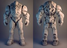 Here's another piece done for Nvidia. The idea was to use the Nvidia swoop as part of the design language, so you see it throughout the character. The overall design was provided, and the more intricate details and functionality were designed by me. Robot Concept Art, Armor Concept, Zbrush, Combat Suit, Robots Characters, Futuristic Armour, Arte Robot, Sci Fi Armor, Suit Of Armor