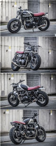 Triumph Scrambler by Down and Out Cafe Racers Triumph Cafe Racer, Triumph Scrambler, Cafe Racer Motorcycle, Motorcycle Design, Triumph Motorcycles, Vintage Motorcycles, Custom Motorcycles, Custom Bikes, Cars And Motorcycles