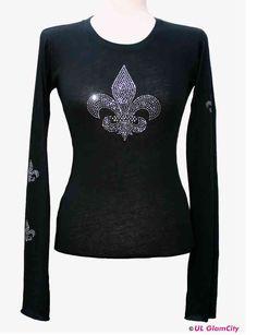 Langarmshirt,schwarz,Fleur de Lis, Strass - GlamCity- Shop