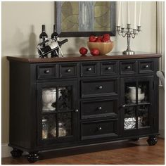 Riverside Furniture Marbella Server | Wayfair Maybe solid door in place of three drawers and 3 regular sized drawers where the 6 mini drawers are.