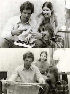Harrison Ford Carrie Fisher and Mark Hamill on the set of Star Wars | Rare and beautiful celebrity photos
