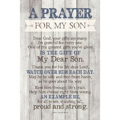'Prayer for My Son…' Textual Art Plaque