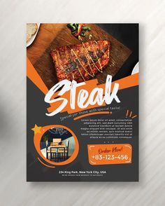 Very easy to use and customize. Food Flyer Vol. 7 template is help you to promote your business with marvellous design. You can use this template for any project which suitable with your promotion. Food Graphic Design, Food Poster Design, Food Design, Layout Design, Banner Design, Design Design, Restaurant Poster, Restaurant Menu Design, Flyer Design Inspiration