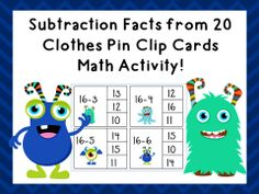 Subtraction Clip Cards! Facts from 20-0! Over 200 cards!