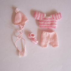 OOAK Handmade knitted outfit for miniature baby doll #RB195pink