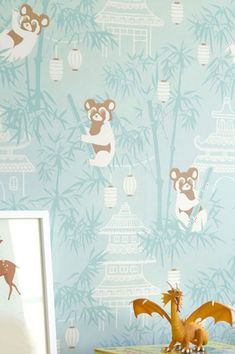 Hues of white, brown and a pastelly turquoise lend a soft character to the scenic depiction of large pandas sitting in bamboo trees - the ideal companions for your child's room. Turquoise Wallpaper, Turquoise Walls, Bamboo Tree, Kids Wallpaper, Playroom, Kids Room, Nursery, Interior Design, Inspiration