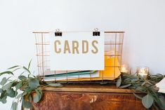 Modern, minimalistic wedding // Lucky Day Events Co. // Jennifer Young Studio Photography // Greenery // Ebell of Long Beach Copper Wire Basket, Wire Baskets, Wedding Designs, Wedding Styles, Card Boxes, Event Company, Lucky Day, Guest Books, California Wedding
