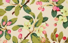 Crabapple Path -- © Martha Negley Introduced March 12' Pattern Number: PWMN058 Selected Color: Natural Product Description: Artist: Martha Negley Category: Florals Collection: Farmington