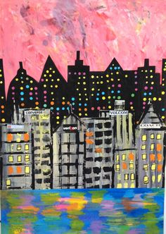 MaryMaking: Mixed Media Cityscape Collages