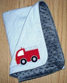 Fireman Baby Boy Minky Lovey Fire Truck / by LittleTexasBabes Boy Gifts, Gifts For Boys, Minky Blanket, Fire Trucks, Grey Stripes, Sewing Ideas, Little Ones, Flannel, Applique