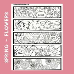 Spring Color Your Own Bookmarks, Color Your Own Bookmarks, Spring Bookmarks, Digital Color Your Own Bookmark, Bookmarks to Color by FourthAvePenandInk on Etsy