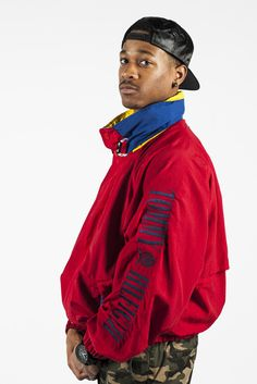 Vintage 90s Tommy Hilfiger Red Spellout Jacket Sz XL