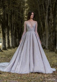 PSAW1714 - Ballgown with iridescent wing vein embroidery in shades of silver and blush