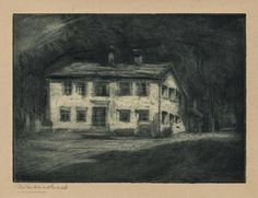 Hermann Struck - Nietzsche house in Sils Maria - etching. Sils Maria, Sketches, Drawings, Pictures, House, Painting, Art, Alps, Photos