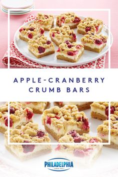 Warning: You might just fall in love at first bite with these Apple-Cranberry Crumb Bars. These bars have a cake-y base that's layered with a PHILADELPHIA Cream Cheese filling, fall's favorite fruits, and a crumbly top. #ItMustBeThePhilly