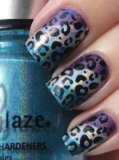 blue and purple leopard nail art