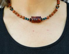 Beaded raku necklace // Ceramic and sunstone // Blue and copper // Warm organic components
