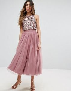 ASOS Cluster Embellished Mesh Crop Top Midi Dress